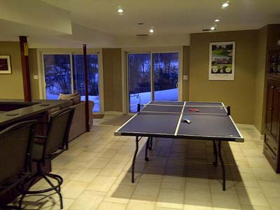 Large den with ping pong table.