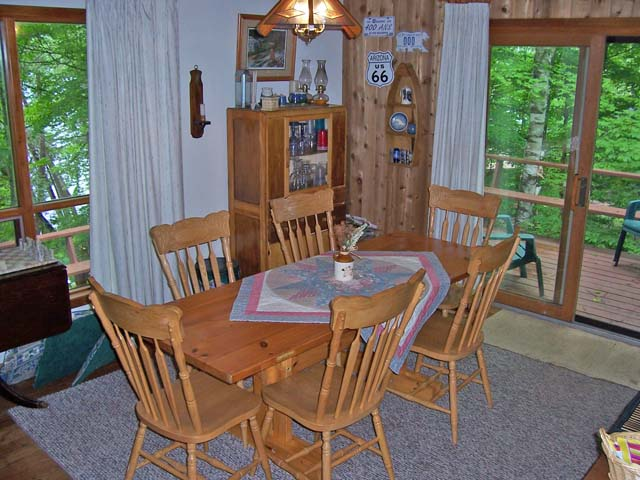 Dining room overlooks the lake.