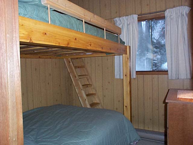 Both bunks have double sized mattresses.