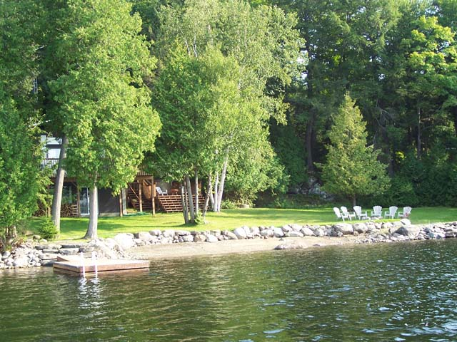 Cottage as seen from the lake.