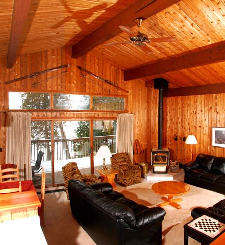 The walls are cedar which gives the cottage a warm, rustic feel.