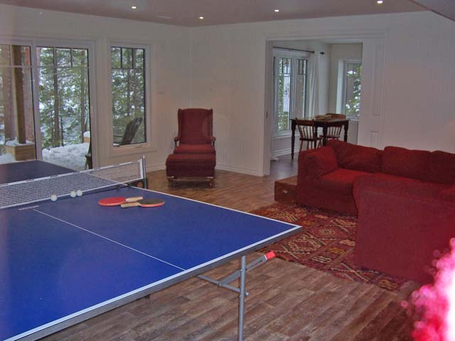 Den with ping pong table and a walk-out to the lake.