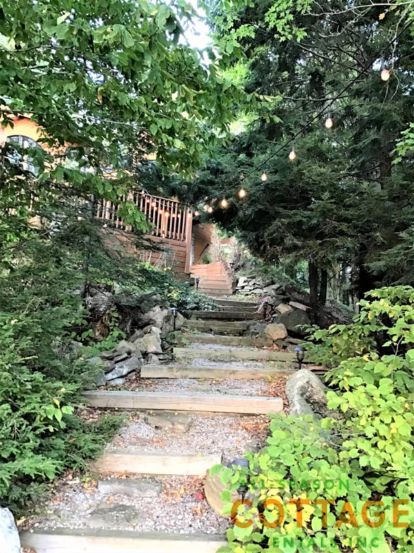 Stairs down to lake from the cottage