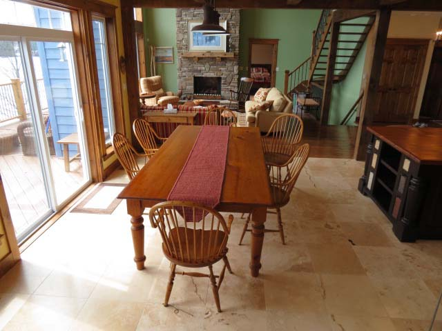 Dining room overlooks the lake