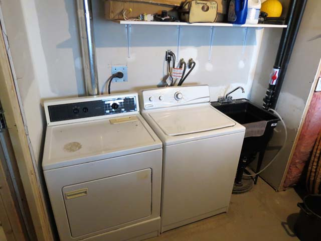 Washer and dryer located downstairs in utility room