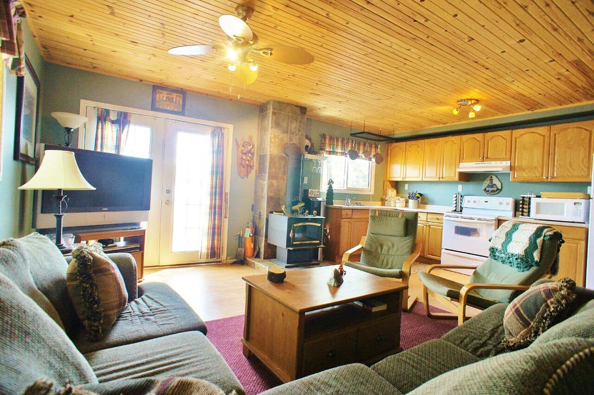 Bunkie living room and kitchen