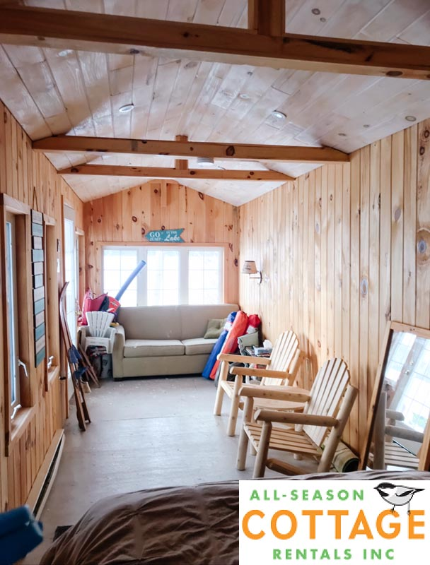 Bunkie has a Queen bed and small living room area