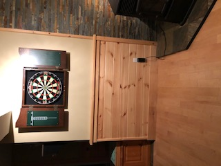 Dart board located in games room downstairs