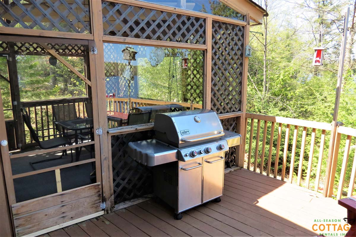 Brand new BBQ is directly attached to cottage propane supply