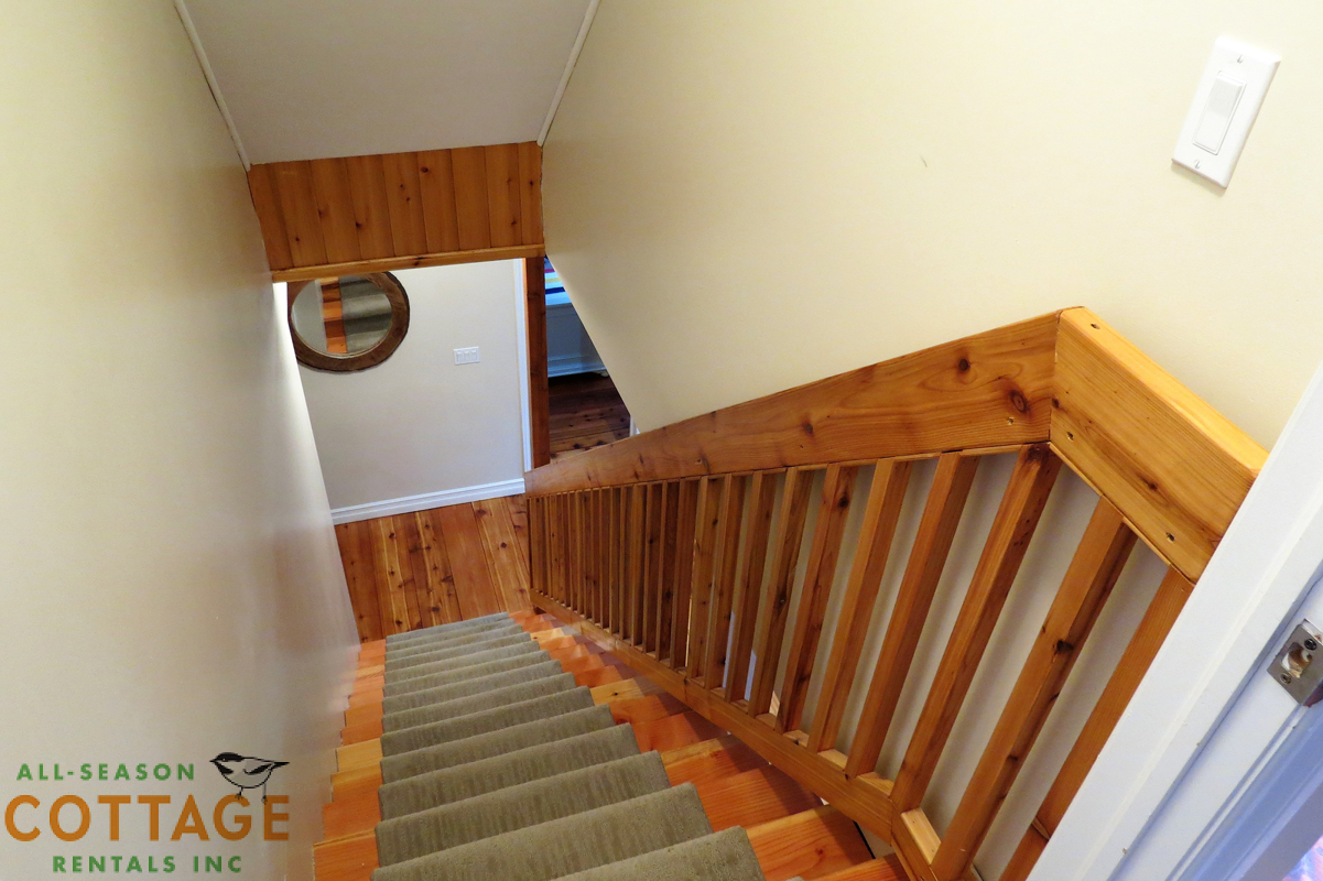Stairs to basement with sturdy handrail