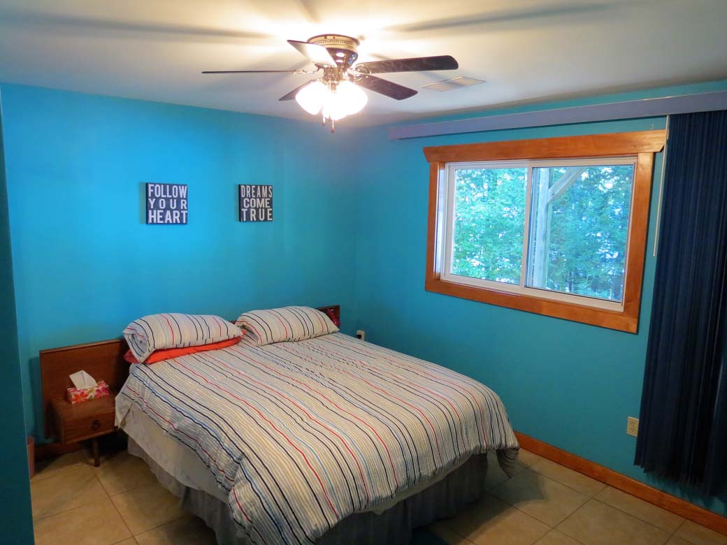 Third bedroom is located downstairs with a view of the lake and ceiling fan.