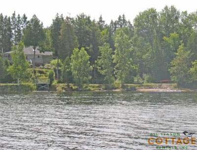 View of cottage and shoreline.