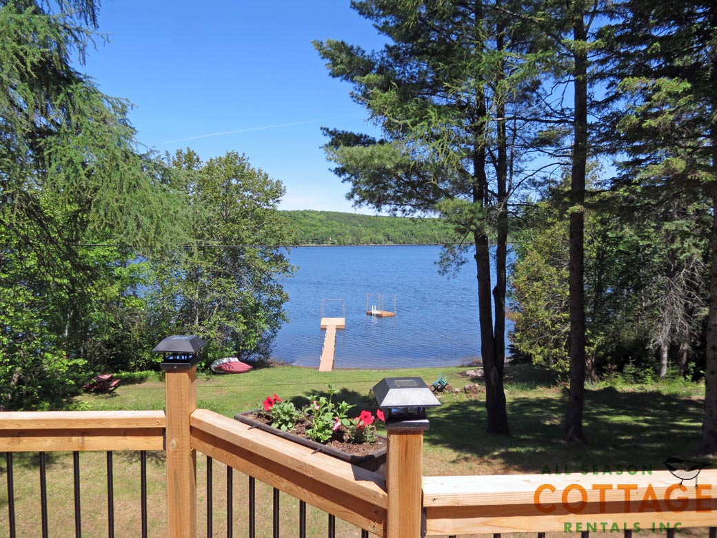 View from deck on lake side of cottage.