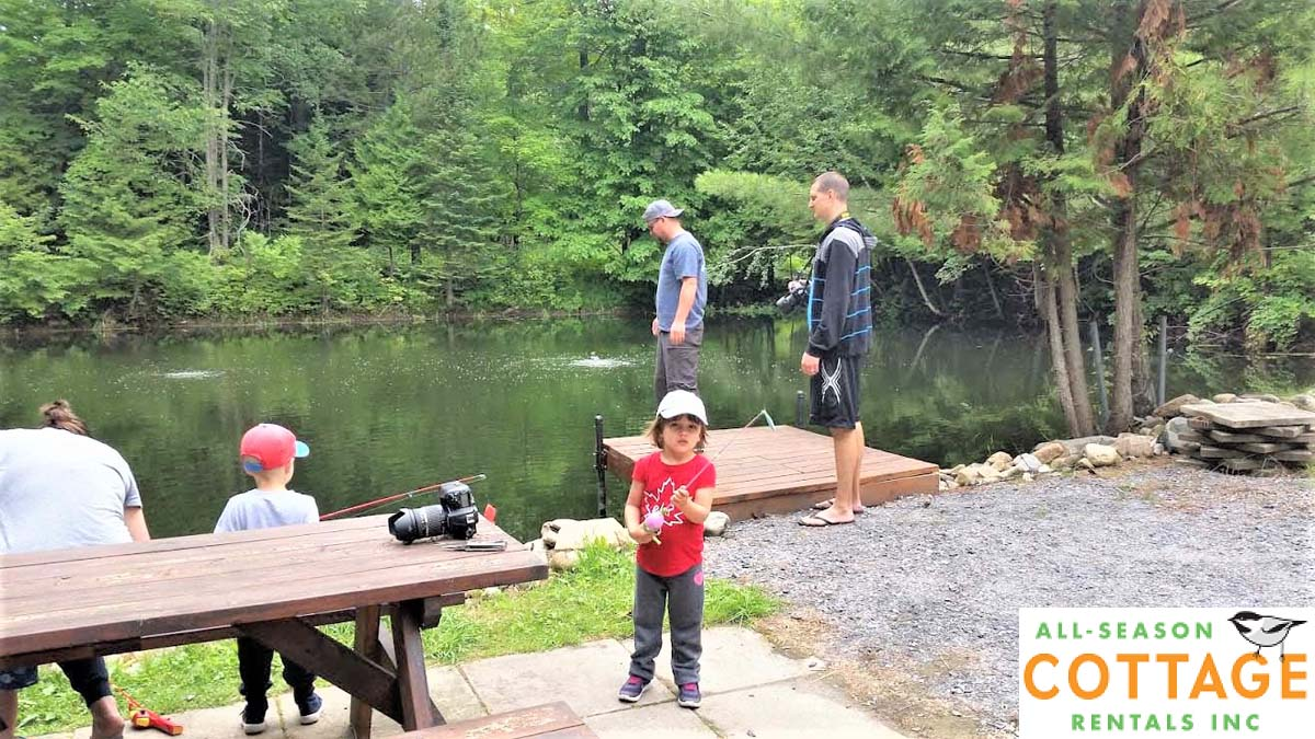 Fishing pond for children is stocked with Rainbow Trout