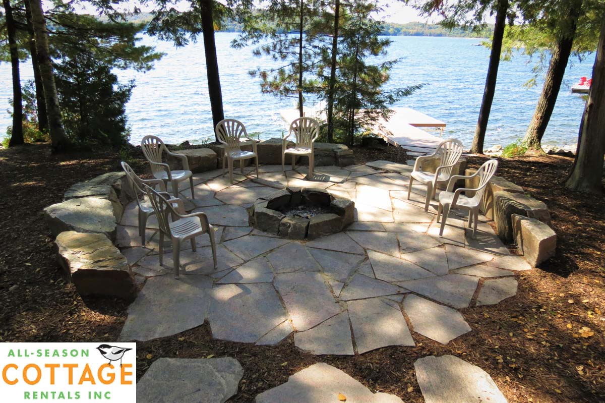 Brand new granite firepit and landscaping.