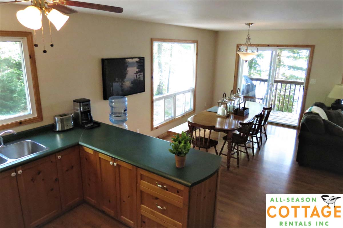 Kitchen is open to the living/dining room areas, and the walk-out to the deck.