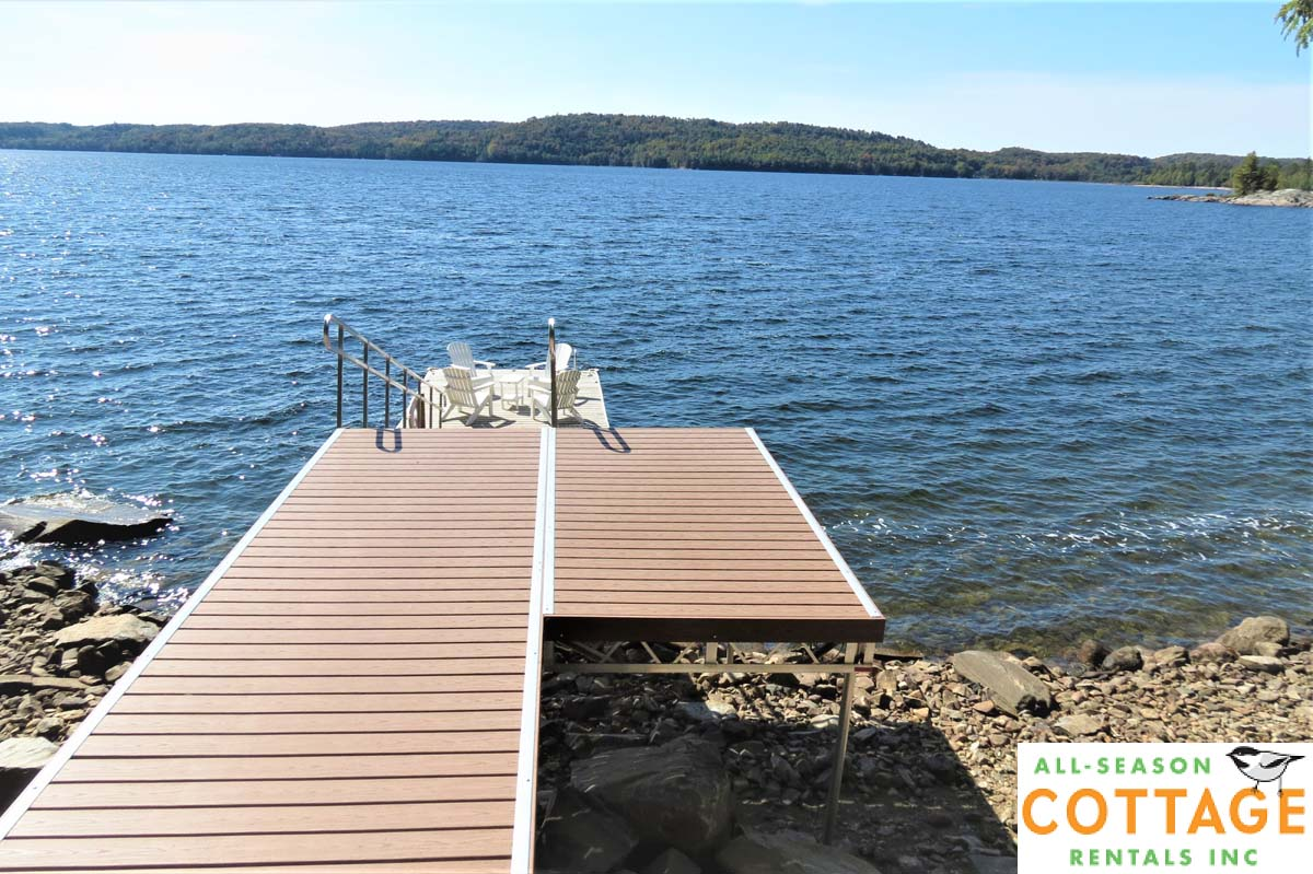 During the summer water levels are much higher and ramp leading to dock only has a slight incline